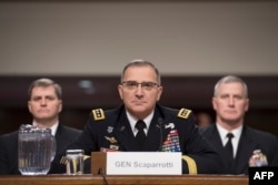 FILE - U.S. Army General Curtis Scaparrotti, Commander of the U.S. European Command, testifies on Capitol Hill in Washington, March 8, 2018.