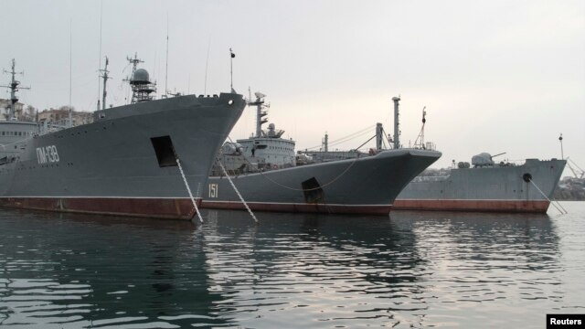 "Russia's Large Landing Ship ""Azov"" (C) is pictured moored at the home base of Russia's Black Sea Fleet in the Crimean port of Sevastopol Feb. 24, 2014."