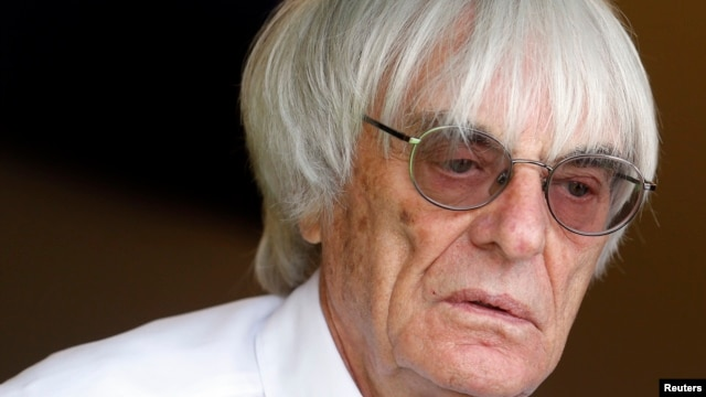 FILE - Formula One chief executive Bernie Ecclestone is seen after the qualifying session of the Monaco F1 Grand Prix, May 25, 2013.