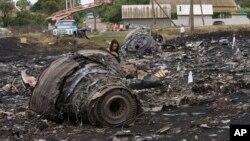 18일 말레이시아 여객기가 추락한 우크라이나 동부 지역에 비행기 잔해가 널부러져 있다.