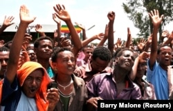 FILE - Demonstrators attend a rally in the Oromia region, May 15, 2010.