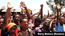 Les membres de Medrek, la plus grande coalition de l'opposition de l'Ethiopie, lors d'un rassemblement dans la région d'Oromia. Ethiopie, 15 mai 2010.