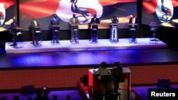 Uganda's presidential candidates take part in a presidential debate in Uganda's capital Kampala on Jan. 15, 2016, ahead of the Feb. 18 presidential election. Incumbent President Yoweri Museveni did not attend the debate.