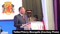 Président Denis Sassou N'Guesso na lisikulu na ye na bofungwami ya Forum ya bokengi ya bileyi ya Afrika ya kati, na Brazzaville, Congo, 19 novembre 2019. (Twitter/Thierry Moungalla)