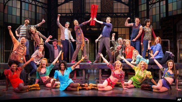 "The cast during a performance of the musical ""Kinky Boots.""  The Cyndi Lauper-scored ""Kinky Boots"" has earned a leading 13 Tony Award nominations, Apr. 30, 2013."