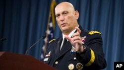 Outgoing Army Chief of Staff Gen. Ray Odierno speaks during his final news briefing at the Pentagon, Aug. 12, 2015.