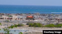 A truck prepares to dump trash at Jazeera Beach, one of the most popular beaches in Somalia's capital, Mogadishu. (Courtesy - Jamal Ali)