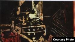 Tĩnh vật –Gravure sur carton 27X21cm của Lê Tài Điển