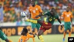 L'équipe du Cameroun lors de la Coupe d'Afrique, à Malabo, Guinée équatorial, le 28 janvier 2015.