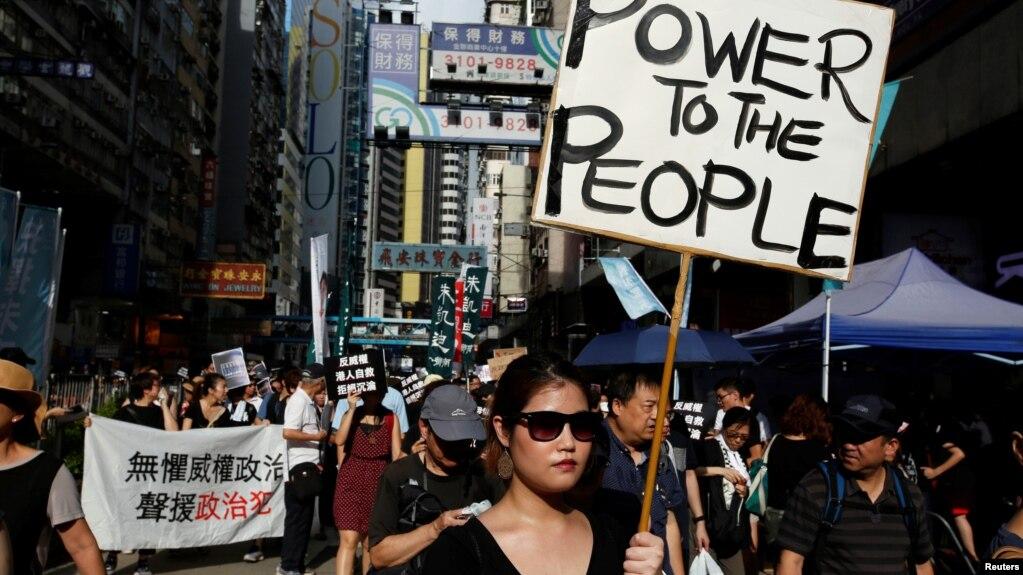 Người biểu tình ở Hong Kong ngày 1/10.