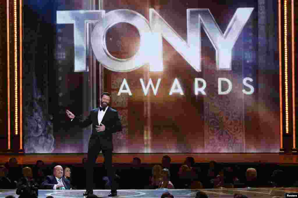 Show host Hugh Jackman performs onstage during the American Theatre Wing's 68th annual Tony Awards at Radio City Music Hall in New York, June 8, 2014.
