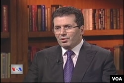 FILE - Fatmir Mediu, chairman of the Republican Party of Albania and former defense minister, speaks to VOA in 2013.