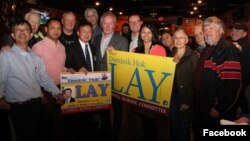 Dominik Hok Lay, (third from left), posed for a picture supporters and some candidates who ran for city council elections, in Lowell, MA, on Tuesday, November 7, 2017. (Facebook of Dominik Lay)