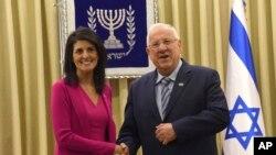 نماینده آمریکا در سازمان ملل در اسرائیل با رئیس جمهوری این کشور دیدار کرد.