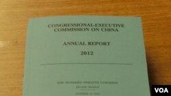 美國國會及行政當局中國委員會的2012年度報告(攝影: 美國之音任敬揚)