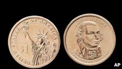 Novčić od jednog dolara sa likom predsednika Džona Adamsa.