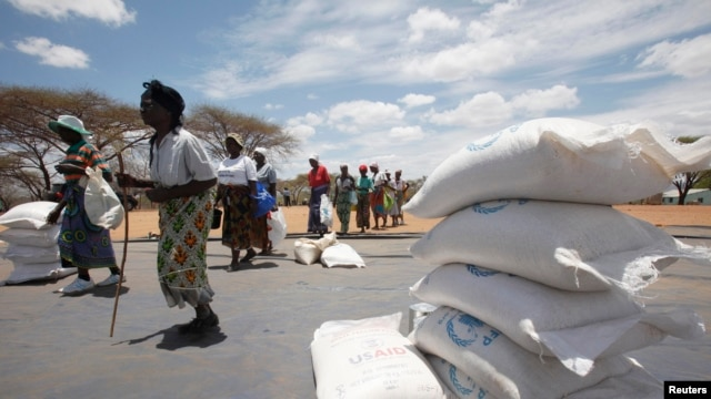 FILE - Zimbabwean women collect food aid from a distribution point in Mutawatawa, about 220km northeast of the capital, Harare on November 25, 2013.