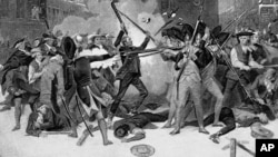 FILE - This is a scene from the Boston Massacre, March 5, 1770, in which British troops fired their muskets on civilians, killing five of them, and sparked the American Revolution.