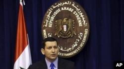 Juru bicara Kementrian Luar Negeri Suriah, Jihad Maksidi di Damaskus, Suriah (27/5).