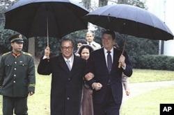 里根总统与赵紫阳总理1984年在白宫