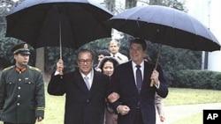 里根与赵紫阳在白宫1984年