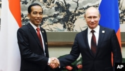 Russian President Vladimir Putin (r) shakes hands with Indonesian President Joko Widodo at the Asia-Pacific Economic Cooperation (APEC) forum in Beijing, Nov. 10, 2014.