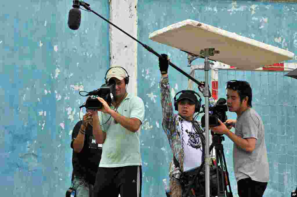 "Behind the scenes of the movie ""Saigon Electric"" (Courtesy of Saigon Electric)"