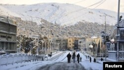 A view shows snow covered the Syrian capital Damascus, January 10, 2013.