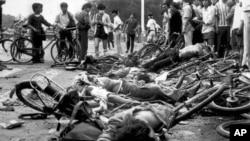 六四天安门民主运动被血腥镇压后的北京街头 (1989年6月4日 资料照片)