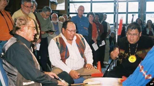 The Porcupine Singers perform as part of The Lakota Music Project. Ronnie Theisz (left),  professor emeritus of American Indian Studies at Black Hills State University, has been with the group since 1972.