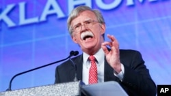 FILE - Former United Nations Ambassador John Bolton speaks at the Southern Republican Leadership Conference in Oklahoma City, May 22, 2015.