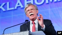 FILE - Former U.S. ambassador to the U.N. John Bolton speaks at the Southern Republican Leadership Conference in Oklahoma City, Oklahoma, May 22, 2015. Many diplomats reportedly feared a return of Bolton, who held the job in 2005 and 2006. He is still said to be under consideration for secretary of state.