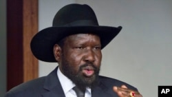 FILE - South Sudan's President Salva Kiir speaks in the capital Juba, South Sudan, Jan. 6, 2014.