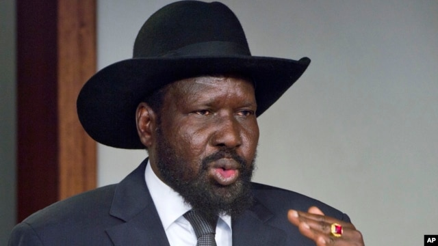 South Sudan's President Salva Kiir speaks after meeting with Sudan's President Omar al-Bashir, in the capital Juba, South Sudan, Jan. 6, 2014.