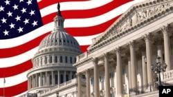 美国国会山与美国国旗