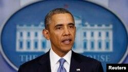 바락 오바마 미국 대통령이 17일 백악관에서 우크라이나 사태에 관한 미국 정부의 입장을 밝히고 있다.