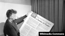 Eleanor Ruzvelt Ümumdünya İnsan Hüquqları Bəyannaməsinin ispan dilində versiyası ilə. Ümumdünya İnsan Hüquqları Bəyannaməsi 10 dekabr 1948-ci ildə BMT Baş Assambleyasının üçüncü sessiyası zamanı qəbul edilib. Həmin sessiya Parisdə keçirilib.