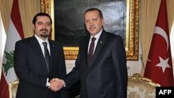 Thủ tướng Libăng Saad Hariri (trái) và Thủ tướng Thổ Nhĩ Kỳ Recep Tayyip Erdogan tại Ankara, ngày 14/1/2011