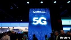 2019年拉斯维加斯消费电子展上高通的5G展牌(2019年1月8日)