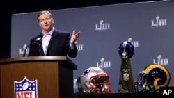 Komisaris NFL Roger Goodell dalam konferensi pers untuk NFL Super Bowl 53, 30 Januari 2019, di Atlanta. (Foto: AP)