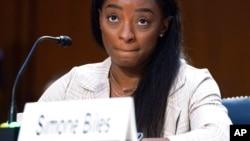 Олимпийская чемпионка Симона Байлз на слушаниях в сенатском комитете. 15 сентября 2021