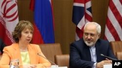 Visoka predstavnica EU za spoljnu politiku Ketrin Ešton i iranski ministar spoljnih poslova Džavad Zarif na pregovorima u Beču 19. marta.