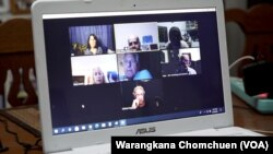 Members of Democrats Abroad Thailand's Covid-19 vaccine task force holds a weekly meeting on Zoom.