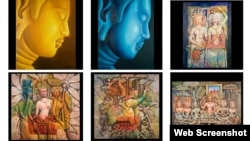 ផ្ទាំងគំនូររូបព្រះពុទ្ធ អ្នករាំរបាំអប្សរា និងរូបសត្វ (រូបពីគេហទំព័រ Khmer Art Gallery)
