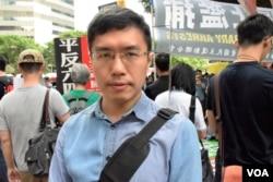 香港民主黨中委區諾軒。(美國之音湯惠芸)