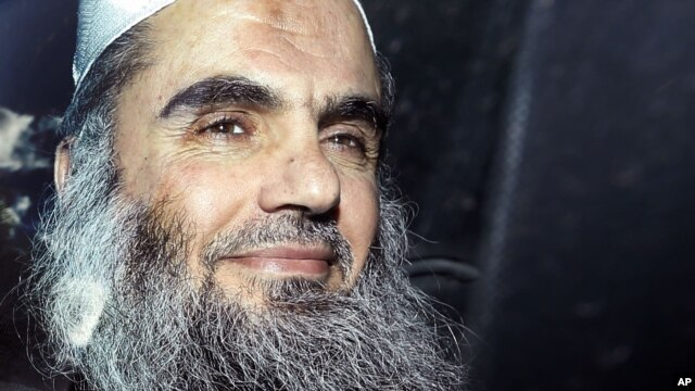 In this April 17, 2012 photo, Abu Qatada is driven away after being refused bail at a hearing at London's Special Immigration Appeals Commission.