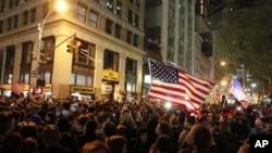 Scène de liesse près de Ground Zero, à New York.