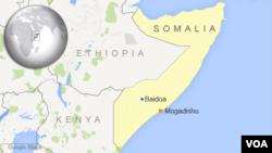 Map kota Baidoa Somalia dimana terjadi serangan bom bunuh diri dan bom mobil pada hari Jumat malam, 5/12/2014.