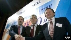 Лидеры партии «Правое дело» Георгий Бовт, Леонид Гозман и Борис Титов