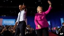 این نخستین حضور همزمان باراک اوباما و هیلاری کلینتون در یک مراسم تبلیغاتی انتخابات ریاست جمهوری امسال است
